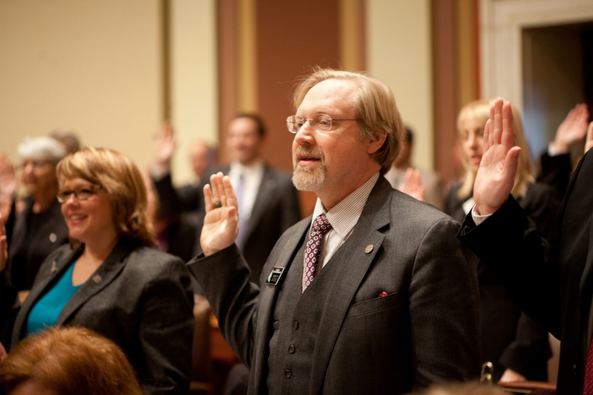 Rep. David Bly gets sworn in at the MN House of Representatives