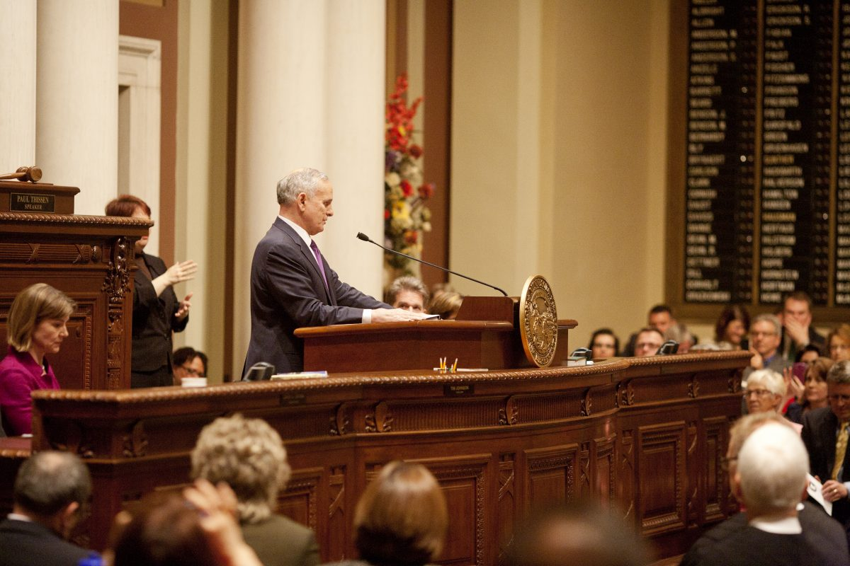 Governor Dayton addresses the state legislature during the State of the State