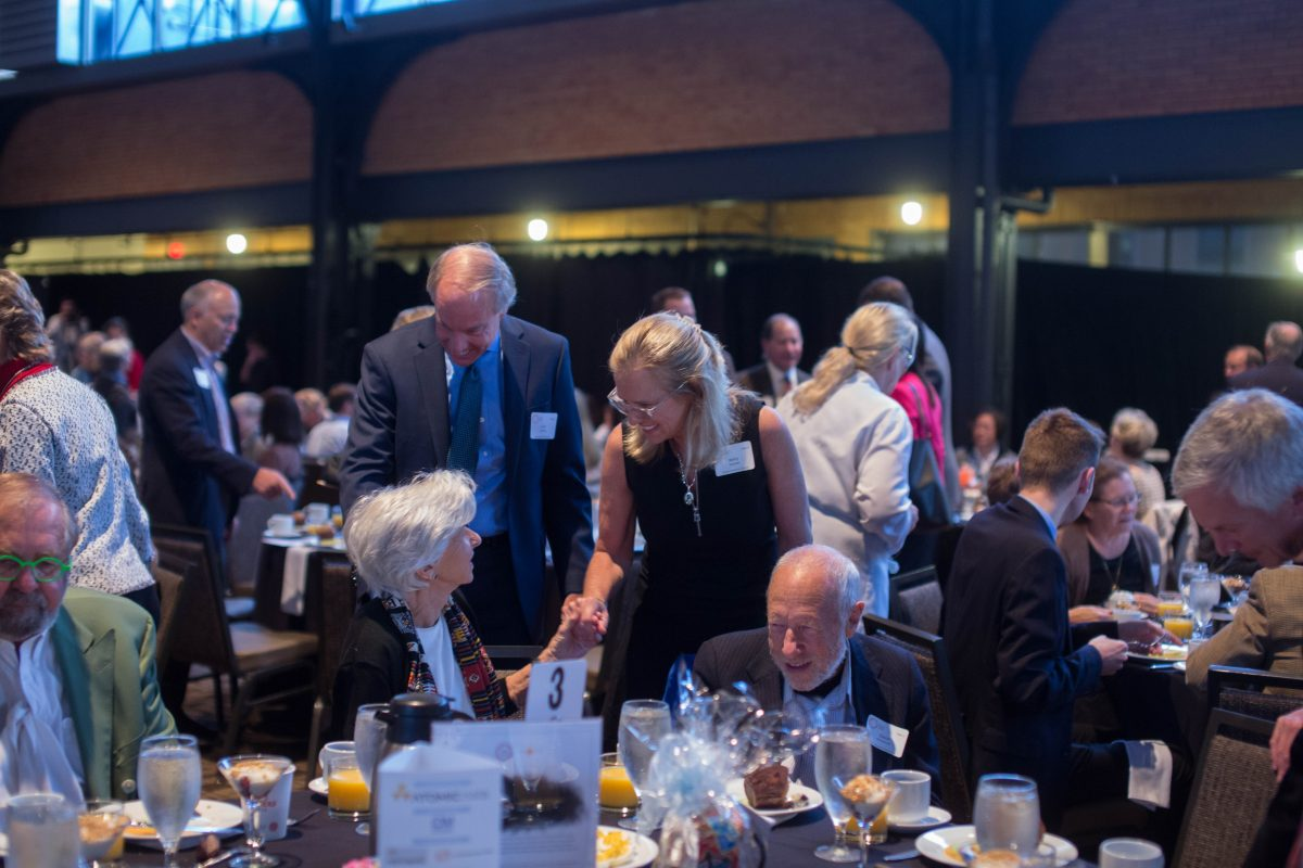 Kerry Kennedy and Curt Goering greet guests at the Breakfast fundraiser for CVT