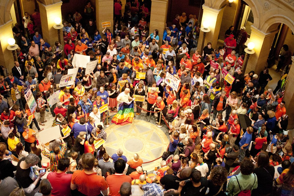 Marriage Equality rally in the Rotunda at the State Capitol while the MN House votes